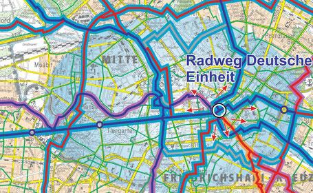 Der Senat von Berlin stellt eine Karte mit ausgeschilderten Radwegen zur Verfügung