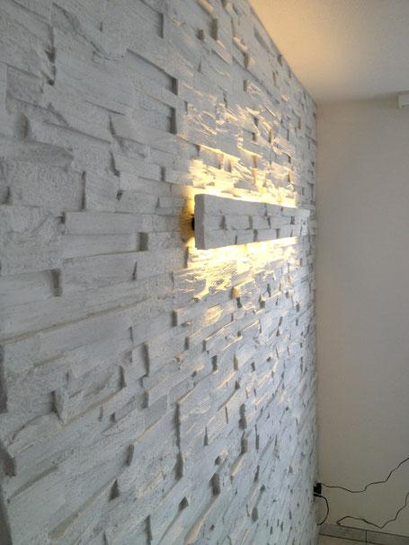 Steinwerke.ch moderne Wandverkleidung - Steinwandbeleuchtung - Deko - Design - Wandpaneele, Modern - Elegant - Exklusiv - Steinwandbeleuchtung - Kunststein - Ambiente - Freude