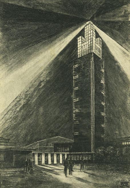 Turm der Deutschen Theaterausstellung Magdeburg.
