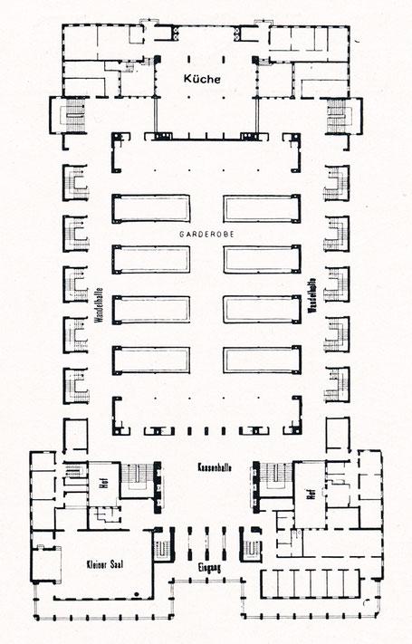 Grundriss der Stadthalle in Magdeburg