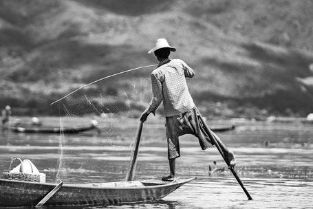 Burmesischer Fischer auf dem Inle-See
