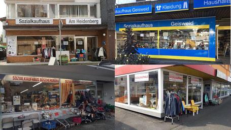 Unsere Sozialkaufhäuser, Am Heidenberg, In Geisweid, Büschergrund und in Kreuztal.