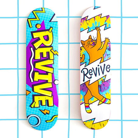 Revive Skateboards Fall 2020 Release - VMS Distribution Europe. Revive Lunchtime Deck, Revive Comfy Cat Deck