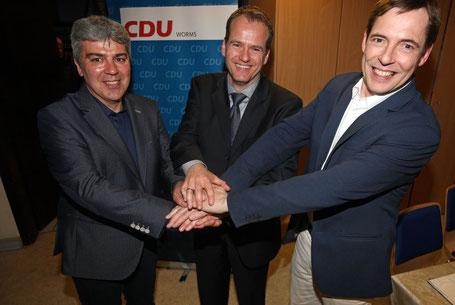 Winston Effenberger, Stefan Hüttenberger und Heiner Fürst, die drei Vorsitzenden der Ortsverbände Pfiffligheim, Leiselheim und Hochheim, bauen auch weiterhin auf gute Zusammenarbeit