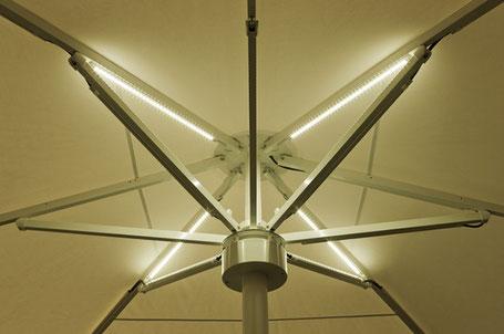 Große Sonnenschirme 🔅 mit LED-Beleuchtung von may / Sonnenschirm SCHATTELLO in Hessen mit LED Beleuchtung