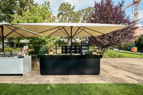 Sonnenschirme für Gastronomie und Bistro von MAY ✅ Schirme für den Objekteinsatz im Hotel ✅ Großer Sonnenschirm mit Heizung und Licht von FINK Sonnenschirme