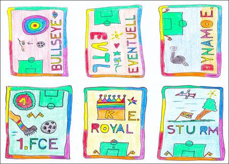 So sehen Absteiger aus: Bullseye, Eventuell, Dynamo, 1. FC, Royal und Sturm Ellerbäh