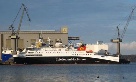 """Die """"Loch Seaforth"""" (Loch Siophort) in der Werft (FSG) in Flensburg, ein Schiff der Caledonian MacBrayne"""