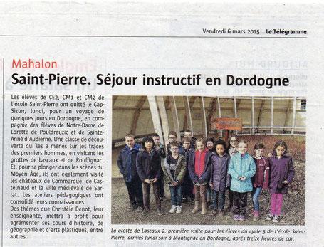 classe verte de Bretagne au Centre International de Séjour de Montignac Lascaux