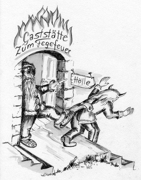 """Der Nikolaus schmeißt einen Teufel aus der Gaststätte """"Zum Fegefeuer"""""""