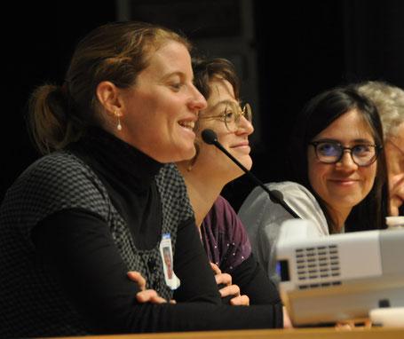 """14h10 : """"Et le médecin généraliste dans tout ça ?"""" De gauche à droite : Priscille Moulin, Dr Mathilde Fabre et Andrea Michel. Perçu comme le pivot du suivi de ces situations, il collabore cependant avec l'ensemble des acteurs impliqués"""