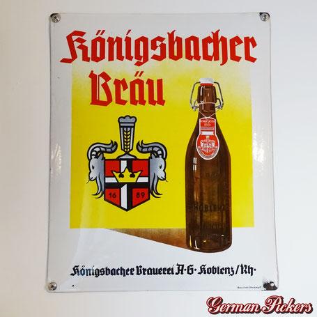 Königsbacher Bräu Koblenz  - Emailschild  Deutschland um 1930  Boos & Hahn Ortenburg/Baden, Pyro Email, 40 x 50 cm