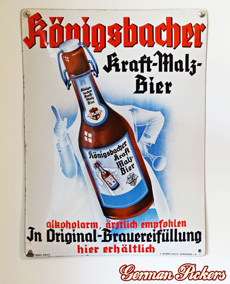 Königsbacher Bräu Kraft Malz Bier - ärztlich empfohlen Koblenz  - Emailschild  Deutschland um 1930  C. Robert Dold Offenburg, 45 x 55 cm