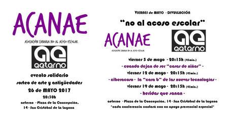 Evento solidario y charlas sobre acoso escolar en Aeterno La Laguna - ACANAE