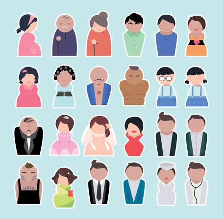 Verschiedene Menschen stilisiert dargestellt.