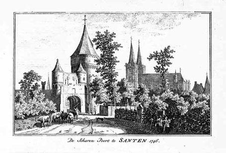 Historischer Kupferstich mit Blick auf Scharntor und Dom