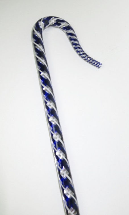 Nailsea glass walking stick from barbaraleighantiquefolkart.co.uk