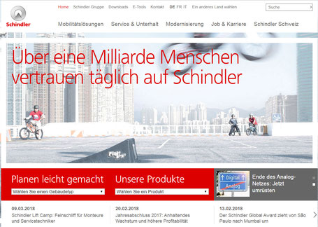 Schindler Homepage vor dem Redesign