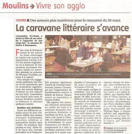 """Article de Presse en Janvier 2016, du quotidien """"La Montagne""""  avec un zoom de l'Association Pré-Textes"""