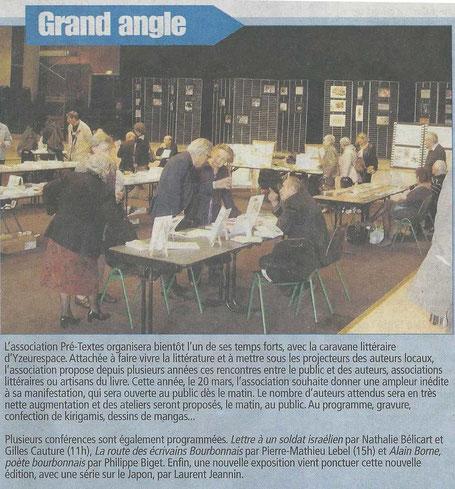 """L'article de l'hebdomadaire """"La semaine de l'Allier"""" annonçant la 6ème Caravane Littéraire d'YzeureSpace du 20 Mars 2016"""