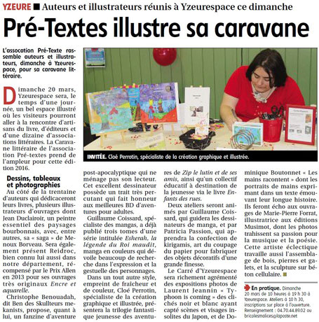"""Article de Presse en mars 2016, du quotidien """"La Montagne"""" avec une mise en avant de Cloé Perrotin : spécialiste de la création graphique et illustrée"""