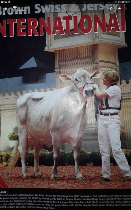 Fancy Girl war die Vollschwester von Dynamites Ur-Ur-Großmutter. Das Foto ist von Han Hopman und es war 2004 das Coverbild der BrownSwiss & Jersey International. Gibt es heute noch solche tollen Kühe?