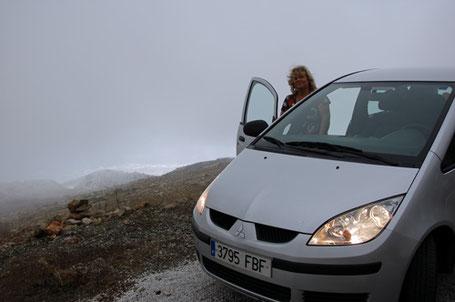 Wir fahren oberhalb von Antequera in die Wolken.