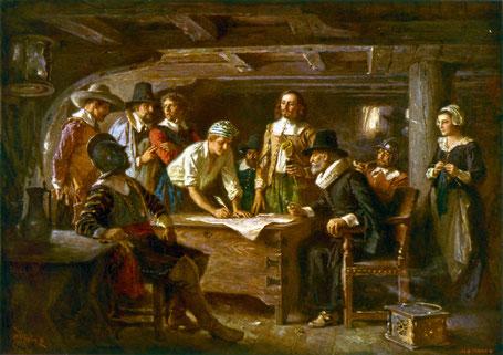 La signature de la Convention du Mayflower (Edward Percy Moran)