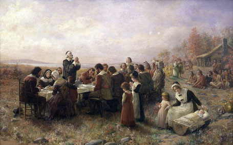 Le premier Thanksgiving à Plymouth (Jennie Augusta Brownscombe, 1914)