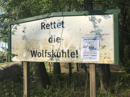 """Bürgerinitiative """"Rettet die Wolfskuhle!"""" (Foto: April 2018)"""