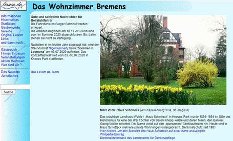 """Webseite """"Lesum.de - das Wohnzimmer Bremens"""""""