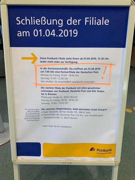 Schließung der Postfiliale in Bremen-Kattenturm im März 2019