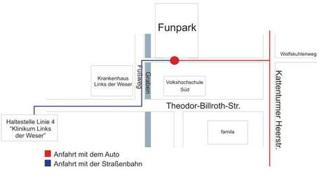 Anfahrt zum Funpark (Skaterbahn und Eventlocation in 28277 Bremen Kattenturm) - Quelle: Funpark Bremen