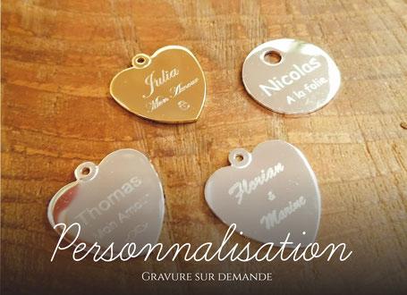 coeurs et pendentifs gravé avec prenom