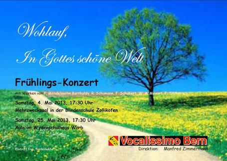 Plakat zu den Frühlingskonzerten in Zollikofen (04.05.2013) und Worb (25.05.2013)