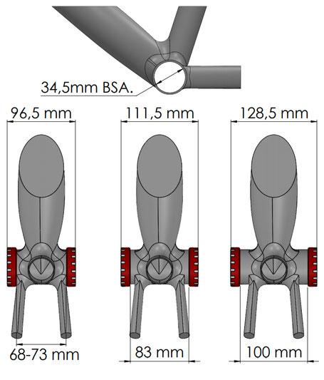 Misura della scatola BSA del solo telaio e misura con tazze elettriche da mtb