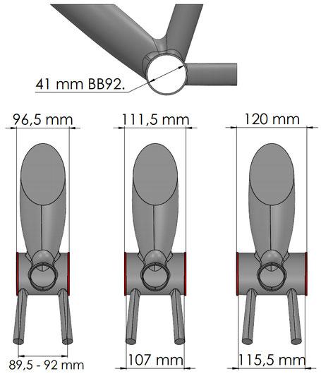 Misurazioni della scatola BB92 solo del telaio per mountain bike