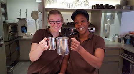 Champions of the coffee machine:Lea on the left and Justine on the right