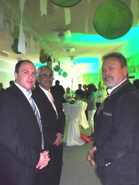 (v. l. n. r.): Zu Gast waren auch Rhönforum-Geschäftsführer Uli Dickas, Vorstandsmitglied Peter Casper und der Vorsitzende des Rhönforum e. V., Manfred Grob.