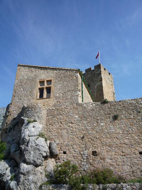 Le Chateau de Baulx le 1er mai 2011 - vue du donjon depuis le jardin des senteurs - photo appartenant aux Compagnons de Tras Castel