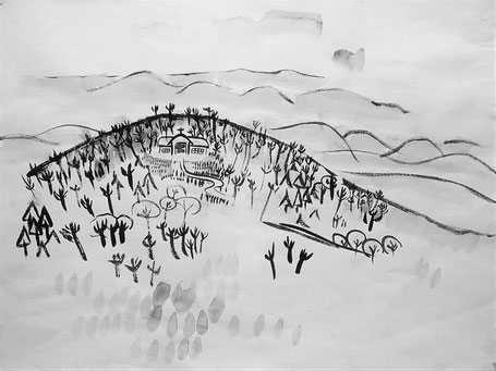 布下満作 『一つぶのたね』より 丘の上の教会 現在の教会堂の前の時代の絵