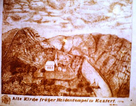 Historischer Kupferstich mit der Abbildung der alten Kesterter Kirche auf dem Kirchköppel aus dem 18. Jahrhundert. Das Original befindet sich heute im Landesmuseum Wiesbaden.