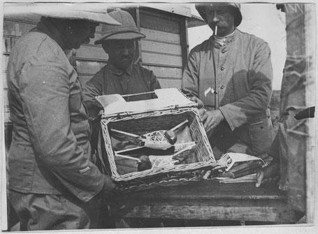 Brieftauben im Transportkorb im Einsatz des französischen Militärs (1917)