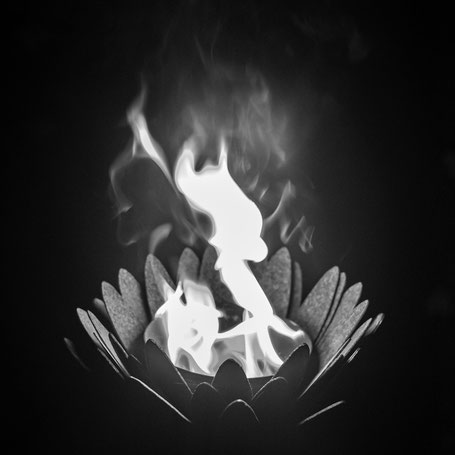 black and white flames