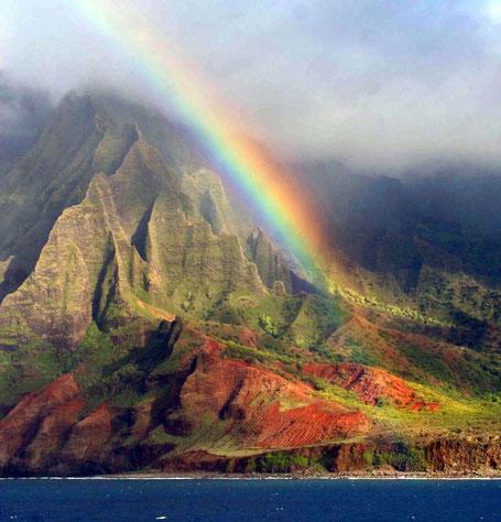 A picture of creative harmony the Hawaiian Island with a rainbow.