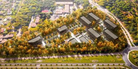 """Image de synthèse présentant le projet """"We hub"""", qui doit s'implanter dans la forêt du Madrillet, Seine-Maritime."""