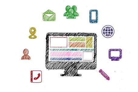 gezeichneter Bildschirm umrandet von Icons wie Briefumschlag, Smartphone, Stift, Telefonbuch, usw.