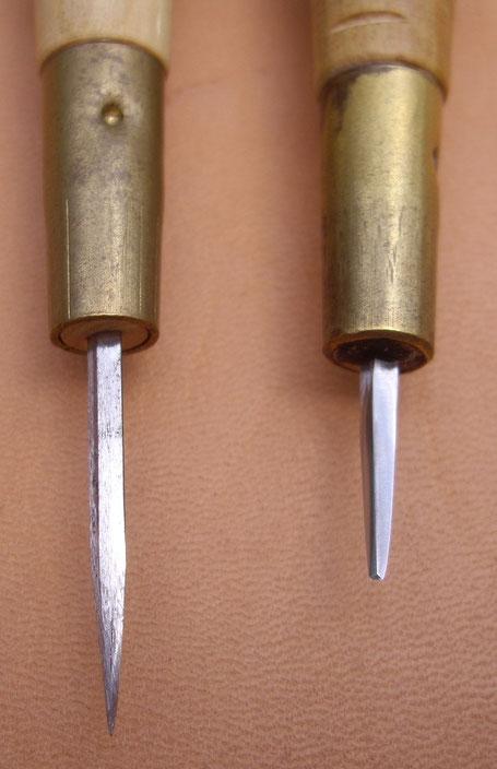 Comparaison alêne neuve et alêne de maroquinerie