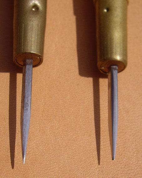 Comparaison alêne neuve et alêne préparée