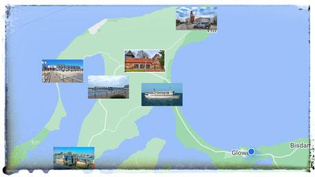Karte Sehenswürdigkeiten der Halbinsel Wittow im Norden der Insel Rügen: Kap Arkona, Altenkirchen, Dranske. Breege, Wiek, Wittower Fähre.